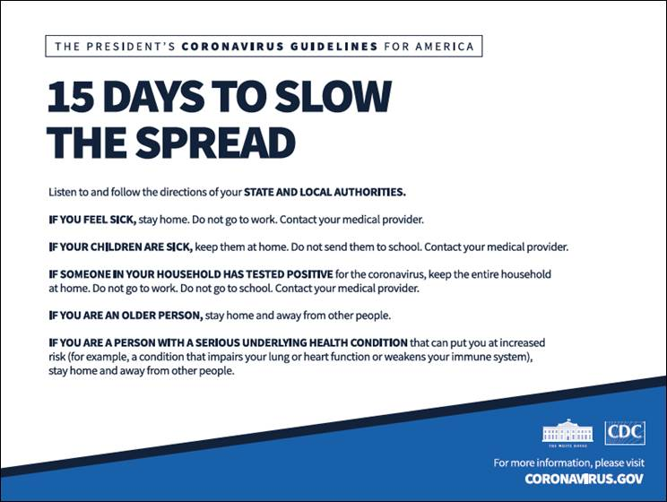 The President's Coronavirus Guidlelines for America: 15 Days to Slow the Spread